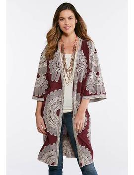 Plus Size Wine Embroidered Duster Kimono by Cato
