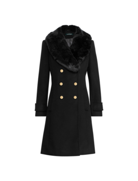 Faux Fur Trim Wool Blend Coat by Ralph Lauren