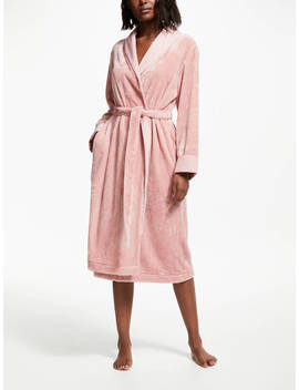 John Lewis & Partners Fleece Satin Trim Dressing Gown, Blush Pink by John Lewis & Partners