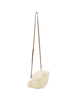 White Shearling Mini Bunny Bag by Loewe