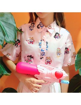 Girls Woman Pink Sailor Moon Blouse Short Sleeved Harajuku Top Shirt  by Wxcteam