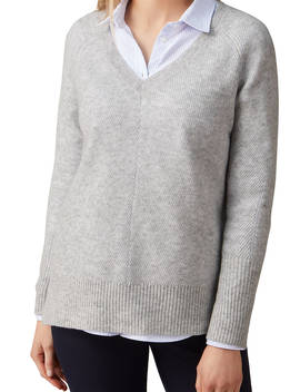Pure Collection Gassato Cashmere Lofty Textured V Neck Jumper, Heather Dove by Pure Collection
