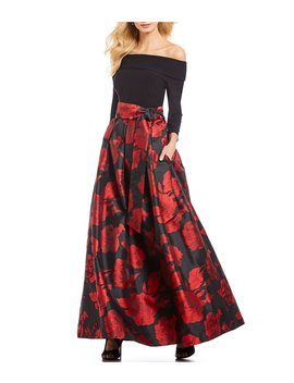 Off The Shoulder Floral Print Ballgown by Jessica Howard