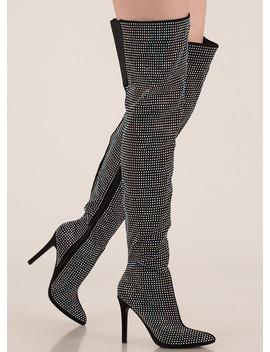 Bling Fling Rhinestone Thigh High Boots by Go Jane