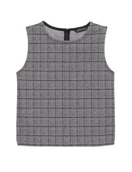 Japan Online Exclusive Plaid Jacquard Knit Shell by Banana Repbulic