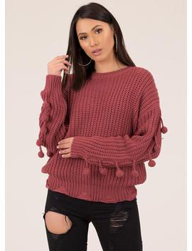 On The Ball Knit Pom Pom Sweater by Go Jane
