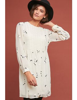 Alexa Pleated Embroidered Tunic Dress by Anthropologie