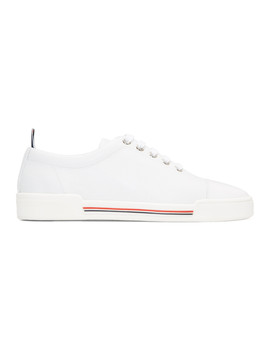 White Four Bar Toe Cap Sneakers by Thom Browne