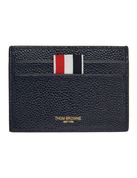 Ssense Exclusive Navy Single Card Holder by Thom Browne