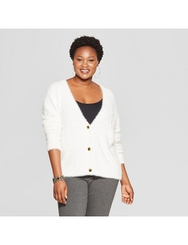 Women's Plus Size Fuzzy Button Front Cardigan   Ava & Viv™ by Ava & Viv