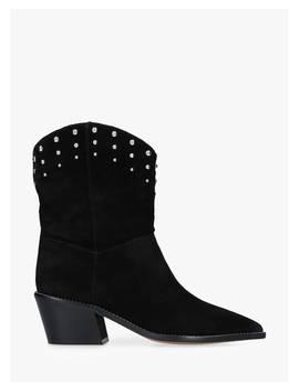 Carvela Salt Block Heel Ankle Boots, Black Suede by Carvela
