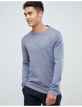 Lindbergh 100 Percents Merino Crew Neck Jumper In Blue by Lindbergh