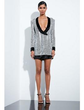 Peace + Love Silver Embellished Sequin Beaded Wrap Dress by Missguided
