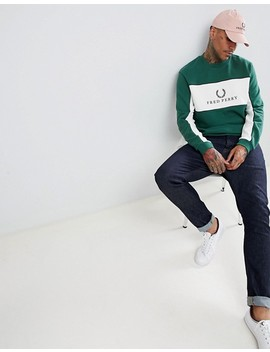 Fred Perry Sports Authentic 90s Logo Panel Piped Sweat In Dark Green by Fred Perry
