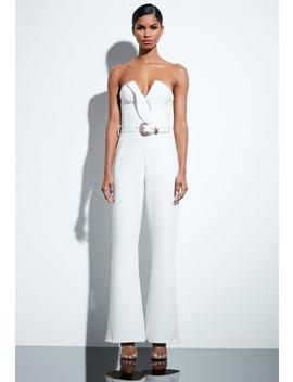 Peace + Love White Plunge Gold Belted Jumpsuit by Missguided