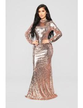 Practically Famous Sequin Dress   Rose Gold by Fashion Nova