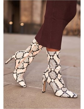 Perla Snake Print Boots by Missy Empire