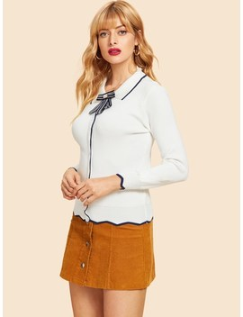 Contrast Trim Detail Sweater by Shein