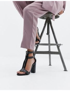Simmi London Zip Up Detail Block Heel Sandals by Simmi