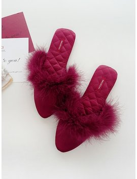 Quilted Detail Fluffy Slippers by Sheinside
