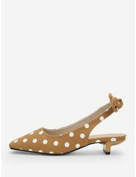 Bow Decorated Polka Dot Kitten Heel Flats by Sheinside