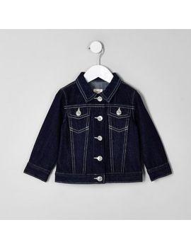 Mini Girls Blue Raw Denim Jacket by River Island