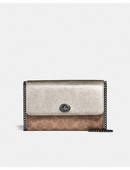 Marlow Turnlock Chain Crossbody In Colorblock Signature Canvas by Coach