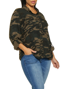 Plus Size Button Front Camo Shirt by Rainbow