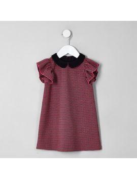 Mini Girls Pink Dogtooth Check Shift Dress by River Island