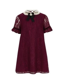 Girls Red Lace Collar Trapeze Dress by River Island