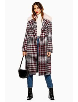 Faux Fur Collar Check Coat by Topshop