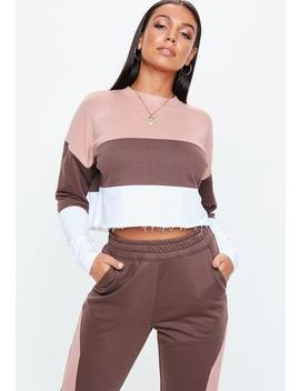 Camel Contrast Panel Cropped Sweatshirt by Missguided