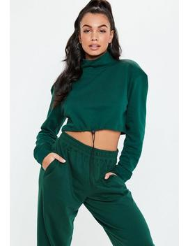 Green Roll Neck Cropped Toggle Co Ord Sweatshirt by Missguided