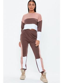 Brown Contrast Panel Joggers by Missguided