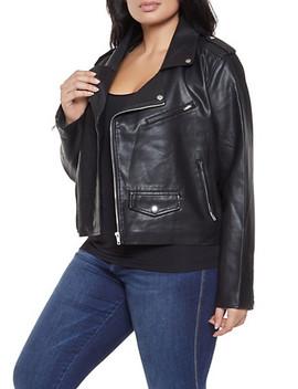 Plus Size Asymmetrical Zip Moto Jacket by Rainbow