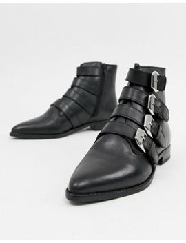 Asos Design Alissa Leather Buckled Boots by Asos Design