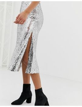 Neon Rose Midi Skirt In Sequin by Neon Rose