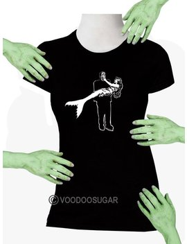 Voodoo Sugar Frankenstein Monster Carrying Mermaid Black Missy Fit T Shirt Plus Sizes Available Voodoo Sugar by Etsy