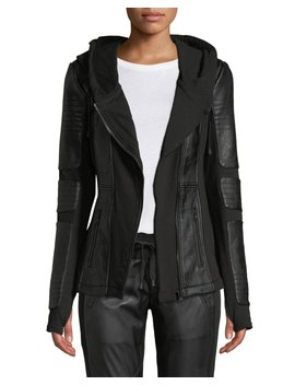 Asymmetrical Hooded Terry Moto Jacket by Blanc Noir
