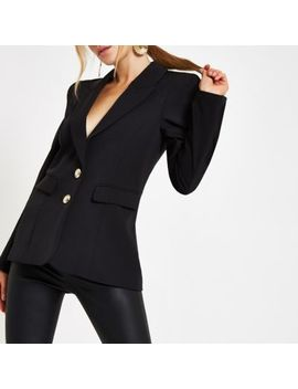 Black Button Front Ponte Long Sleeve Blazer by River Island