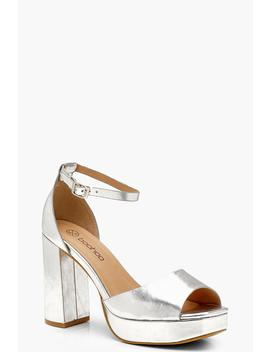 Wide Fit Platform 2 Part Heels by Boohoo