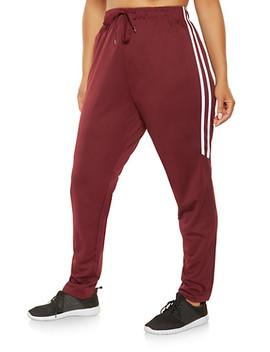Plus Size Varsity Stripe Track Pants Plus Size Hooded Track Jacket by Rainbow