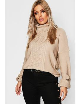 Plus Cable Knitted Roll Neck Jumper by Boohoo