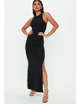 Black 90s Neck Maxi Dress by Missguided