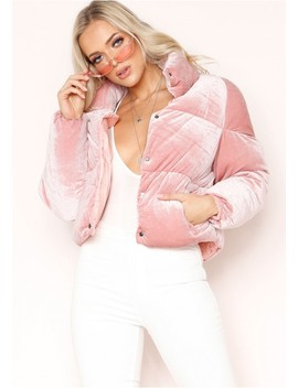 Wendi Pink Velvet Puffa Coat by Missy Empire