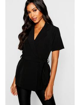 Woven Double Breasted Tie Belt Jacket by Boohoo