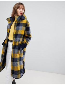 Esprit Hooded Coat In Yellow Check by Esprit