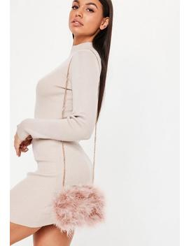 Blush Round Feather Clutch Bag by Missguided