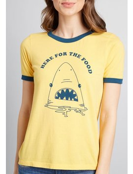 Here For The Food Shark Graphic Tee by Modcloth