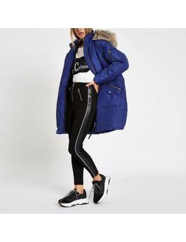 Blue Faux Fur Trim Longline Puffer Jacket by River Island
